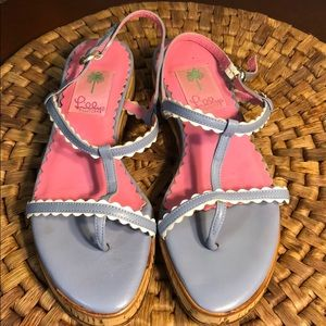 Lilly Pulitzer Pink & Periwinkle Sandals. Good